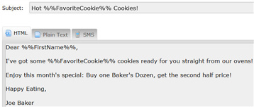 Example of message coded to create a personalized email message based on customer profile information.